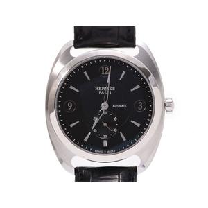 エルメス トレザージュ 黒文字盤 DR5.71B メンズ SS/革 自動巻 腕時計 Aランク 美品 HERMES 箱 中古 銀蔵