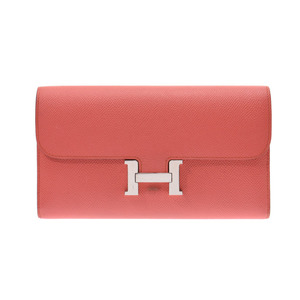 Hermes Constance long Rose Jaipur SV metal fittings □ R stamped Ladies Vaux Epson Long wallet B rank HERMES box