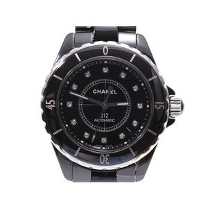 シャネル J12 38mm 黒文字盤 H1626 メンズ 黒セラミック 12Pダイヤ 自動巻 腕時計 Aランク CHANEL 中古 銀蔵