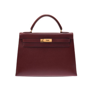 Hermes Kelly 32 outside sewing Rouge ash G hardware ○ Y engraved Women's Kush Bell 2WAY handbag B rank HERMES used Ginzo