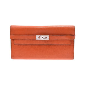 Hermes Kelly wallet orange □ R stamped women's men's shave long B rank HERMES box used Ginzo