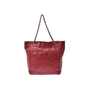 シャネル(Chanel) シャネル マトラッセ チェーントートバッグ 赤 SV金具 レディース ソフトキャビアスキン ABランク CHANEL 中古 銀蔵