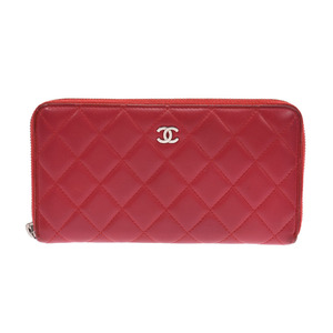 Chanel Matrasse round zipper long wallet red SV bracket Women's lambskin B rank CHANEL box Gala Used Ginzo