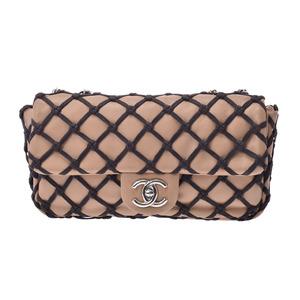 シャネル(Chanel) シャネル チェーンショルダーバッグ ベージュ/黒 SV金具 レディース カーフ Aランク 美品 CHANEL 中古 銀蔵