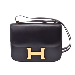 Hermes Constance 23 Black G Bracket ○ Engraved Women's Box Calf Shoulder Bag B Rank HERMES Used Ginzo