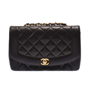 Chanel Matrasse Chain shoulder bag Diana Black G hardware Women's lambskin AB rank CHANEL Used Ginzo