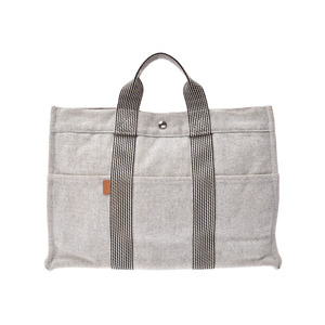 HERMES New Fool To MM Gray SV Bracket Men's Women's Canvas Tote Bag B Rank Used Ginzo
