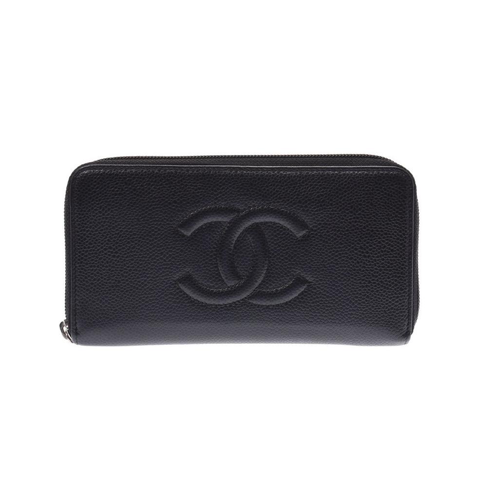0ca41685c194 シャネル(Chanel) シャネル ラウンドファスナー長財布 黒 SV金具 レディース キャビアスキン ABランク CHANEL ギャラ 中古 銀蔵