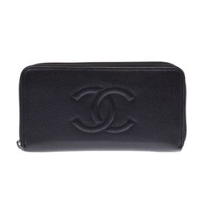 CHANEL Round zipper long wallet Black SV bracket Women's caviar skin AB rank Galla Used Ginzo
