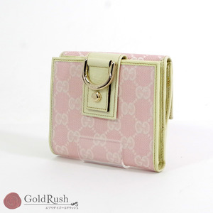 GUCCI GG × leather pink double-sided wallet 141411 F4DYG 5774 women's