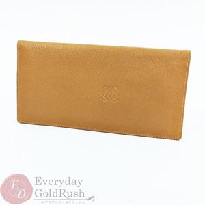ロエベ(Loewe) LOEWE アナグラム  二つ折り 札入れ 長財布 レザー キャメル カラー