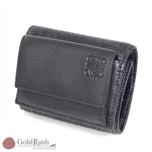LOEWE Tri-Fold Compact Wallet Black Leather
