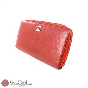 シャネル(Chanel) CHANEL レッド レザー ラウンドファスナー 長財布 レディース カメリア