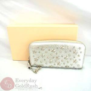 Jimmy Cho JIMMY CHOO round zipper wallet studded silver