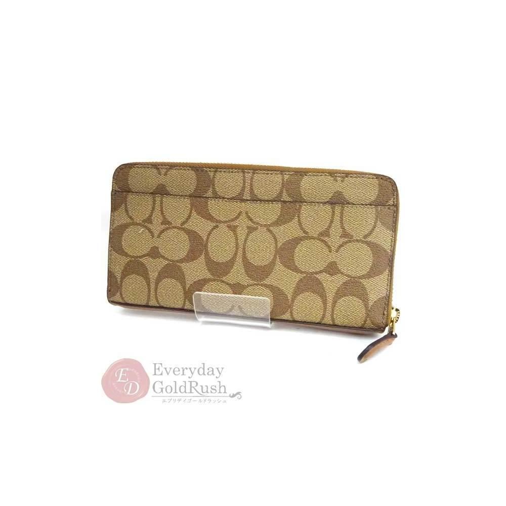 cheap for discount c73f4 eb9b5 COACH F54632 Beige PVC Round zipper Long wallet Women ...