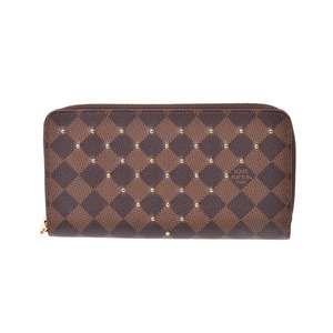 Louis Vuitton Damier Zippy wallet studded brown N60122 Men's Women's Genuine Leather Long Purse A Rank Beauty Product LOUIS VUITTON Used Ginzo