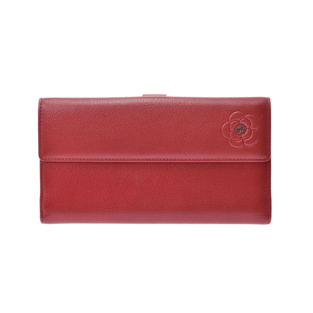 Chanel Camellia W Hook Long Wallet Red Ladies Calf AB Rank CHANEL Box Used Ginzo