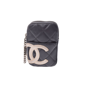 Chanel Cambon Line Cigarette Case Black / White Ladies Lambskin C Rank CHANLE Used Ginzo