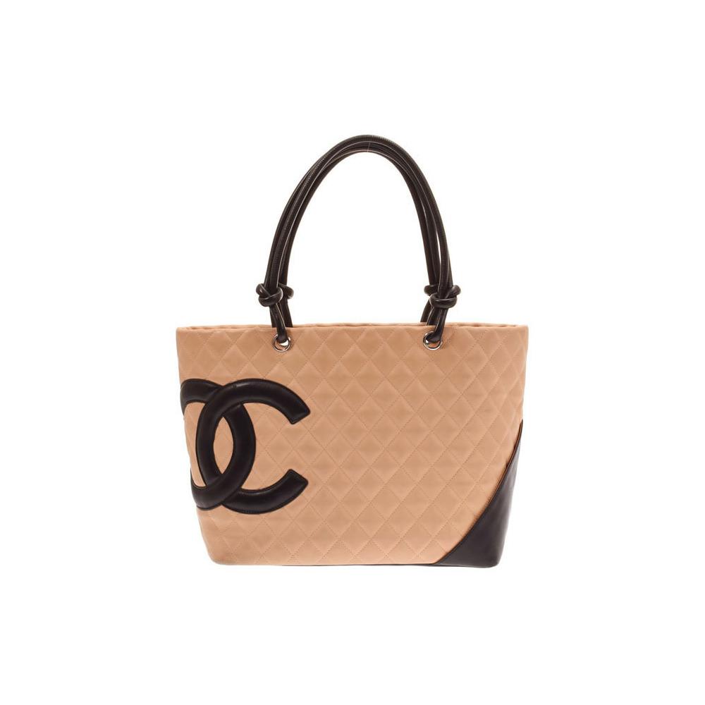 Chanel Cambon Line Large Tote Bag Beige Black Ladies Lambskin B-rank CHANEL Used Ginzo