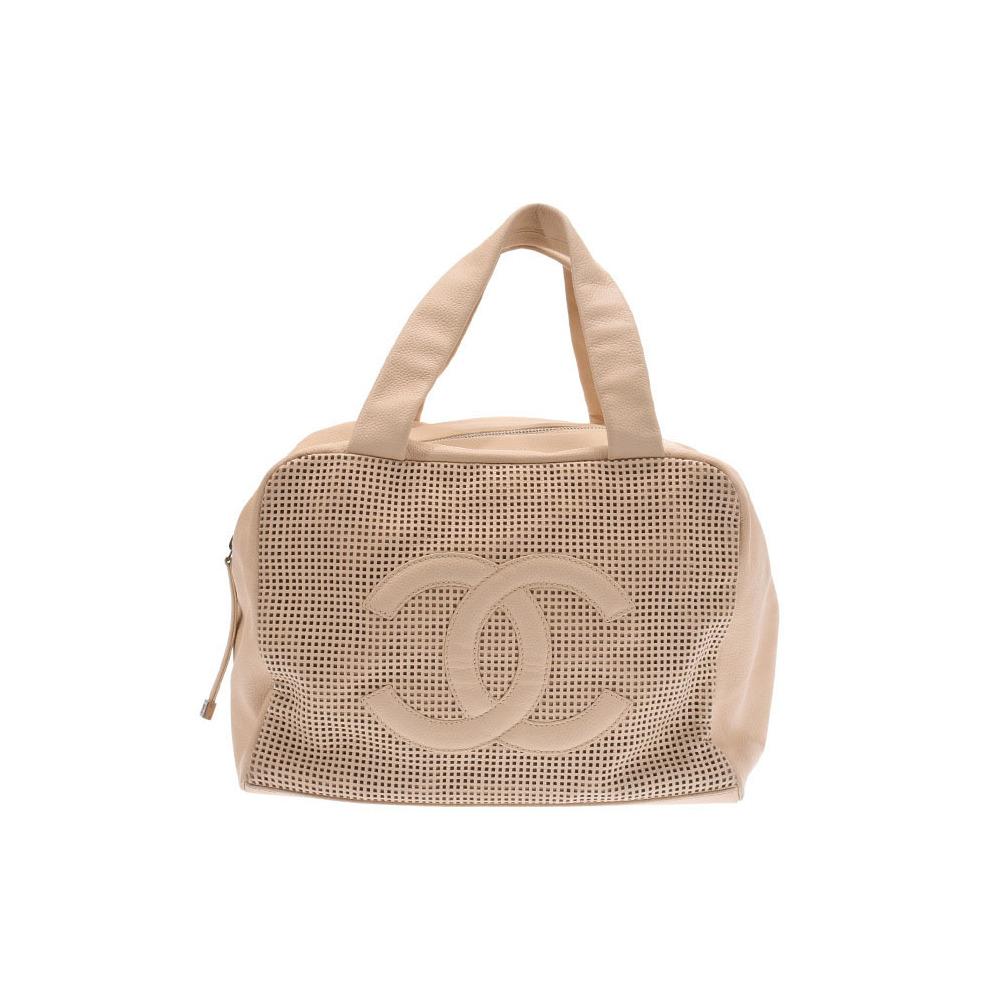 Chanel Mini Boston Bag Punching Beige Ladies Calf AB Rank CHANEL Used Ginzo