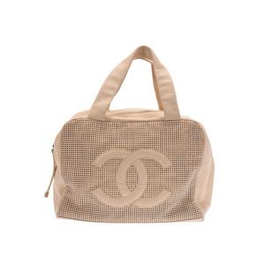 シャネル(Chanel) シャネル ミニボストンバッグ パンチング ベージュ レディース カーフ ABランク CHANEL 中古 銀蔵