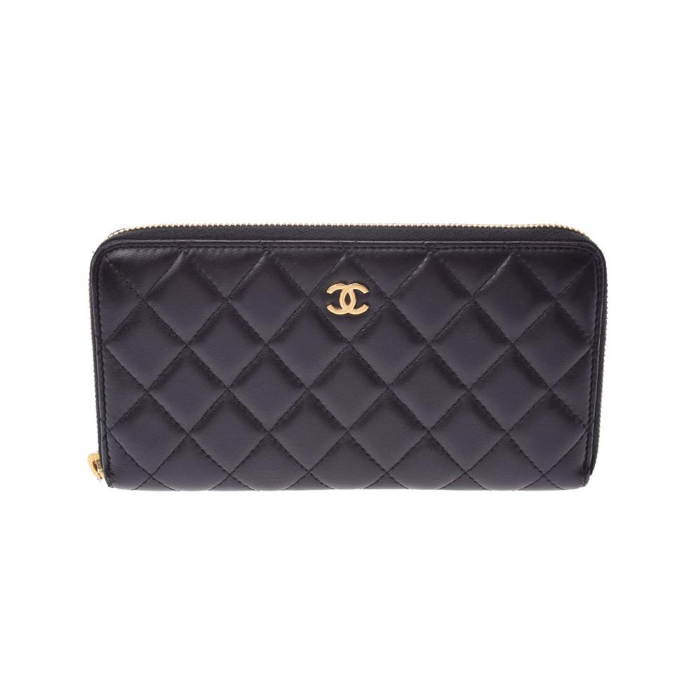 Chanel Matrasse round zipper long wallet black GP hardware Women's lambskin AB rank CHANEL box Gala Used Ginzo