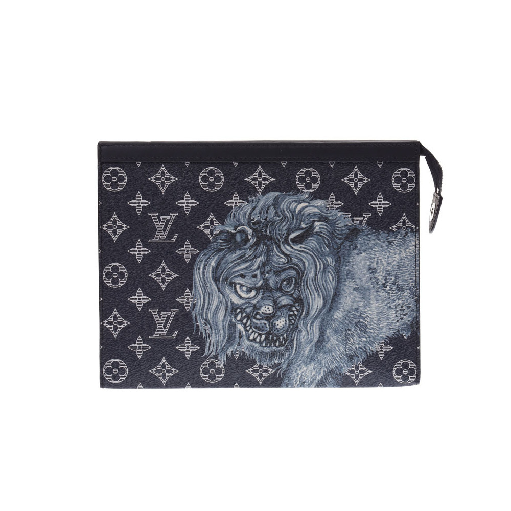 Louis Vuitton Monogram Savannah Pochette Voyager Chapman Brothers Lion M66639 Men's Navy Clutch Bag Second New Same Product LOUIS VUITTON Used Ginzo