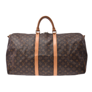 Louis Vuitton Monogram Key Por Bandtiere 55 Brown M41414 Men's Genuine Leather Boston Bag B Rank LOUIS VUITTON Strap with Used Silver Storage