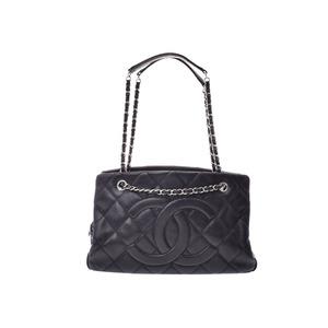 Chanel Matrasse Chain tote bag Black SV hardware Ladies soft caviar skin B rank CHANEL Galla