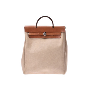 HERMES ale bag AD PM Natural SV metal fittings □ E stamped womens Toruash / leather rucksack B rank used Ginzo