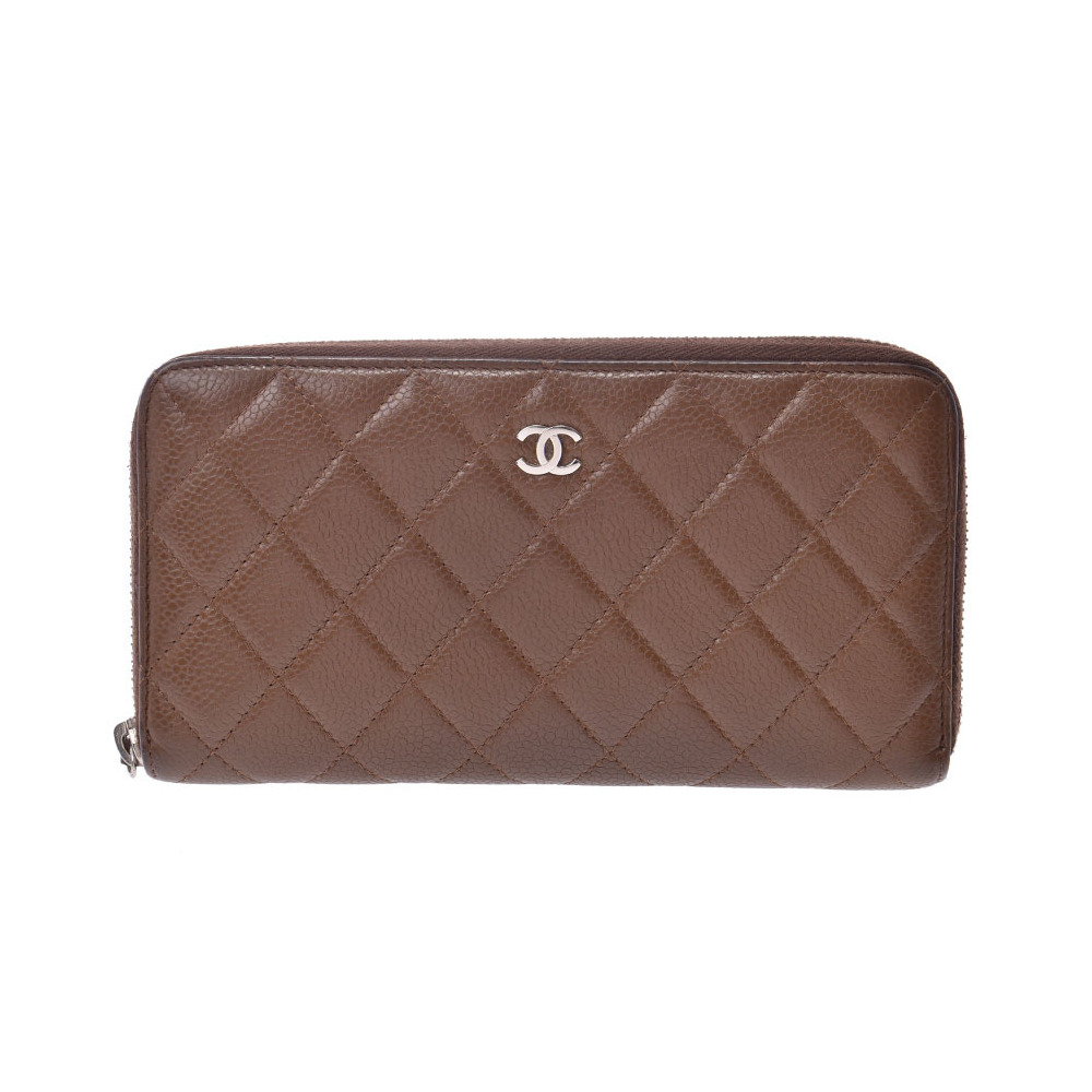 Chanel Matrasse round zipper long wallet Brown SV bracket Women's soft caviar skin B rank CHANEL box