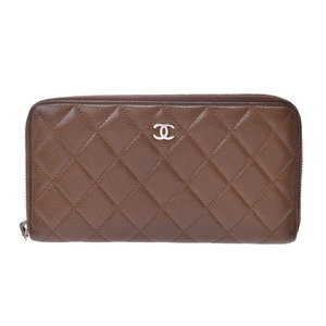 Chanel Matrasse round zipper long wallet Brown SV bracket Women's soft caviar skin B rank CHANEL box