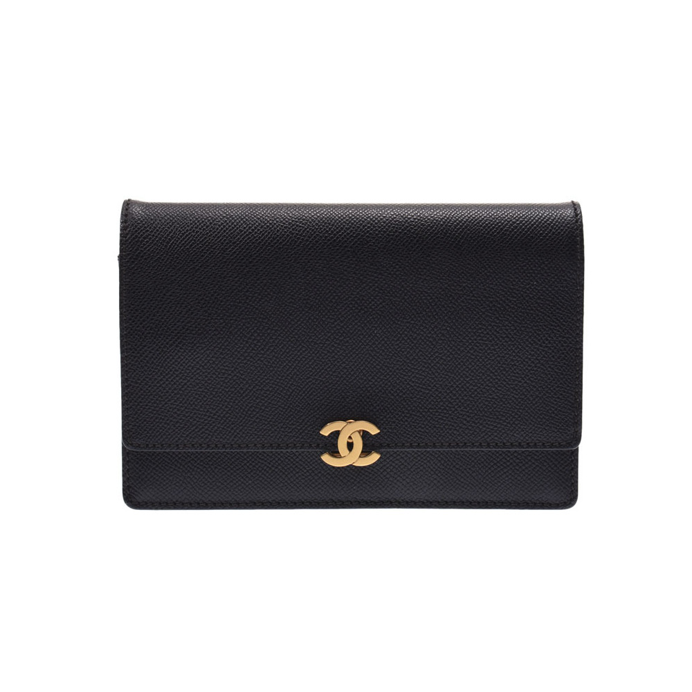 CHANEL CHAIN WALLET Black G Bracket Ladies Calf Wallet B Rank Galla Used Ginzo