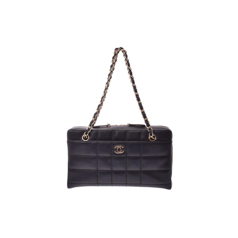 Chanel Chocobar Chain Shoulder Bag Black G hardware Women's calf AB rank CHANEL Galla Used Ginzo