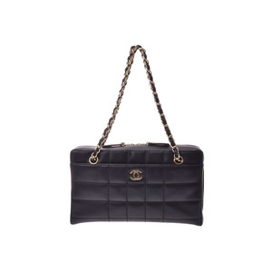 Chanel Chocobar Chain Shoulder Bag Black G hardware Women's calf AB rank CHANEL Galla Used Ginzo