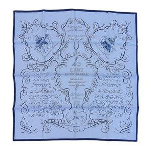 HERMES 1956 Design L'ART D'ECRIRE Letter Art Calle 90 Silk Scarf Blue