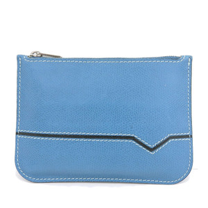 Valextra Leather Coin Case Blue Zip Men's Women