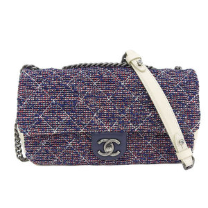 Authentic CHANEL Chanel Matrasse Tweed Chain Shoulder Bag Red x Blue White 22nd Leather