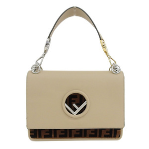 Genuine FENDI Fendi Kanai F Shoulder Bag Leather Beige Brown Black