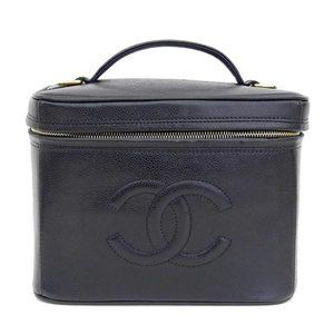 Genuine CHANEL Chanel caviar skin 2WAY shoulder vanity bag black 4 stand leather