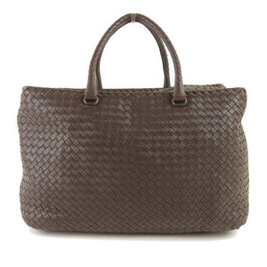Genuine Bottega Veneta Intres Boston Bag Brown Tea 256347 V0016 2072 Leather