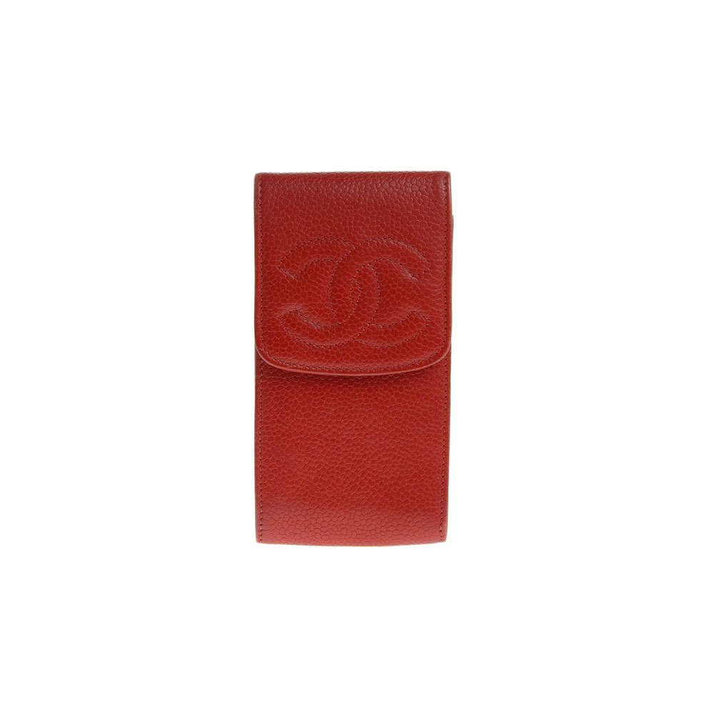 NET Genuine CHANEL Chanel Coco Mark Caviar Skin Cigarette Case Red 3rd Series