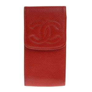 NET Genuine CHANEL Chanel Coco Mark Caviar Skin Cigarette Case Red 3rd Series
