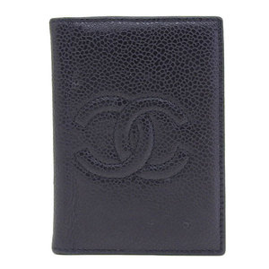 Genuine CHANEL Chanel Caviar Skin Coco Mark Card Case Black
