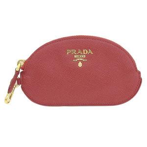 Genuine PRADA Prada Safiano coin case red gold hardware 1M1192