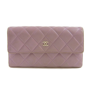 Genuine CHANEL Chanel Ram Matras Purse Purple 17th stand A50096 Leather