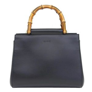 Genuine Gucci Bamboo Nim Fair 2WAY Handbag Black Model: 453767 Bag Leather