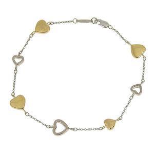 Genuine TIFFANY & Co. Tiffany K18 Combi Heart Motif Bracelet 7.7g