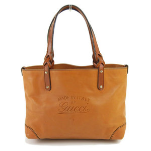 Genuine Gucci Leather Hand Tote Bag Camel 354666