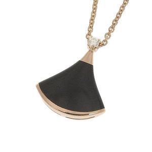 Genuine BVLGARI Bulgari K18PG Diva Dream Onyx x Diamond Necklace 5g